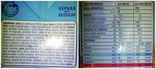 Aceites vegetales, azúcar, leche desnatada...vamos que tiene un montón de cosas además de vitaminas y minerales. Y 22 gr de azúcar en un vaso!!
