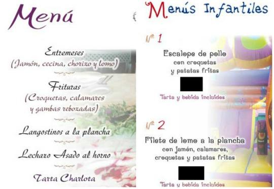 ejemplo de menú para adultos y menú para niños en el mismo restaurante
